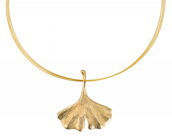 Ginkgo-Collier in 925er-Sterlingsilber, vergoldet