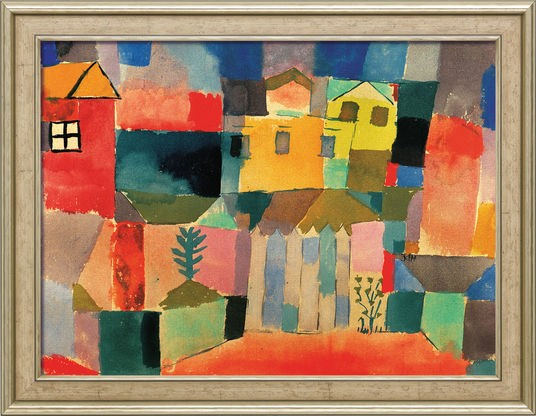 """Paul Klee: Bild """"Häuser am Meer"""" (1914), gerahmt"""