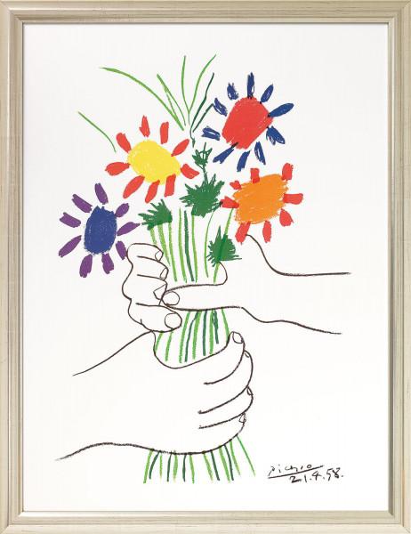 """Pablo Picasso: Bild """"Hände mit Blumenstrauß"""" (1958), gerahmt"""
