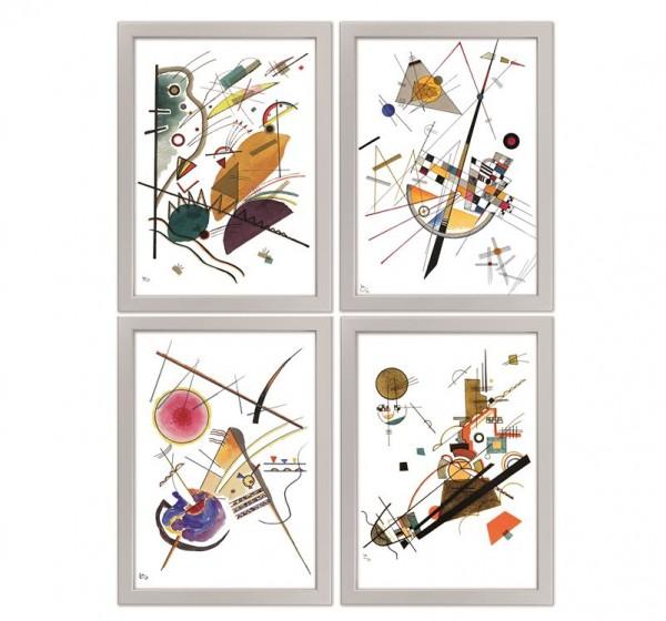 Wassily Kandinsky: 4 Bilder im Set, gerahmt