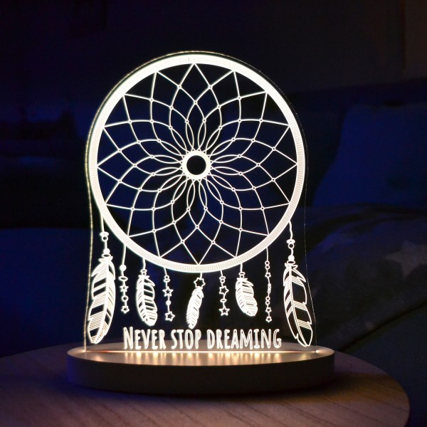 "LED-Lampe ""Never Stop Dreaming"" inkl. Sockel"