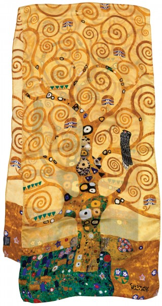 """Gustav Klimt: Seidenschal """"Lebensbaum"""" - braun"""