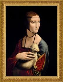 "Leonardo da Vinci: Bild ""Die Dame mit dem Hermelin"" (1488-90), gerahmt"